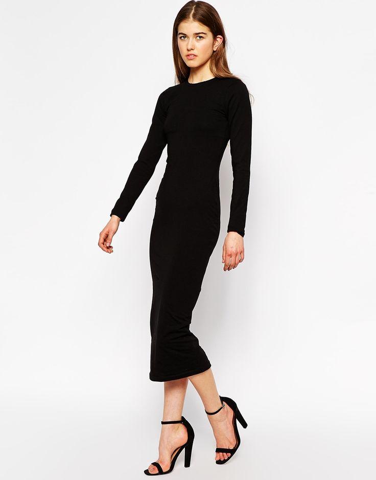 long sleeve black jersey midi dress | Luxury Hotels In Mount Abu