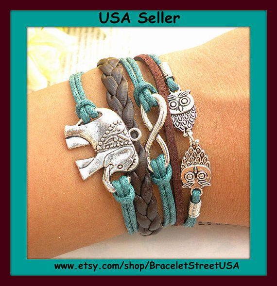 Silver Infinity bracelet karma owls bracelet elephant bracelet with leather wax rope multilayer bracelet jewelry  USA Seller Item #BST-159