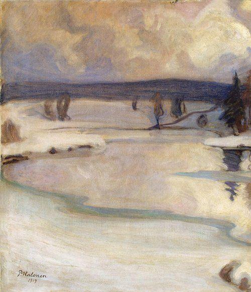 Pekka Halonen (Finnish, 1865-1933), Talvimaisema, 1919. Oil on canvas, 35.5 x 28.5cm (14 x 11.2 in). Hermitage, St. Petersburg.  For more Fine Arts followgalerie mARTin.