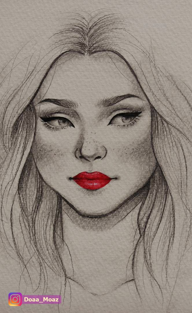 Pencil Sketch, Female Portrait Drawing With Red Lipstick
