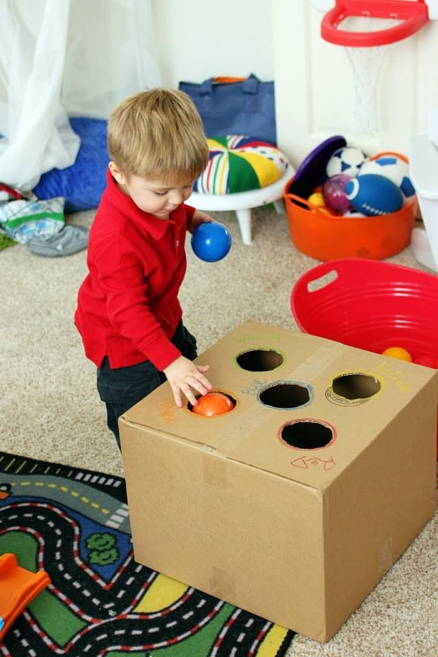 Not done this box one but think it would work and he probably wouldn't need assistance. Similar idea which Micah loved was put slits in top of formula tin lid and slide in popsticks.