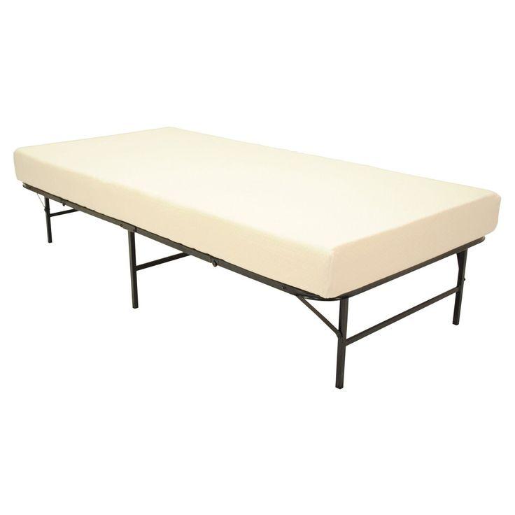 pragma quad fold bed frame twin xl size with 6 inch memory foam