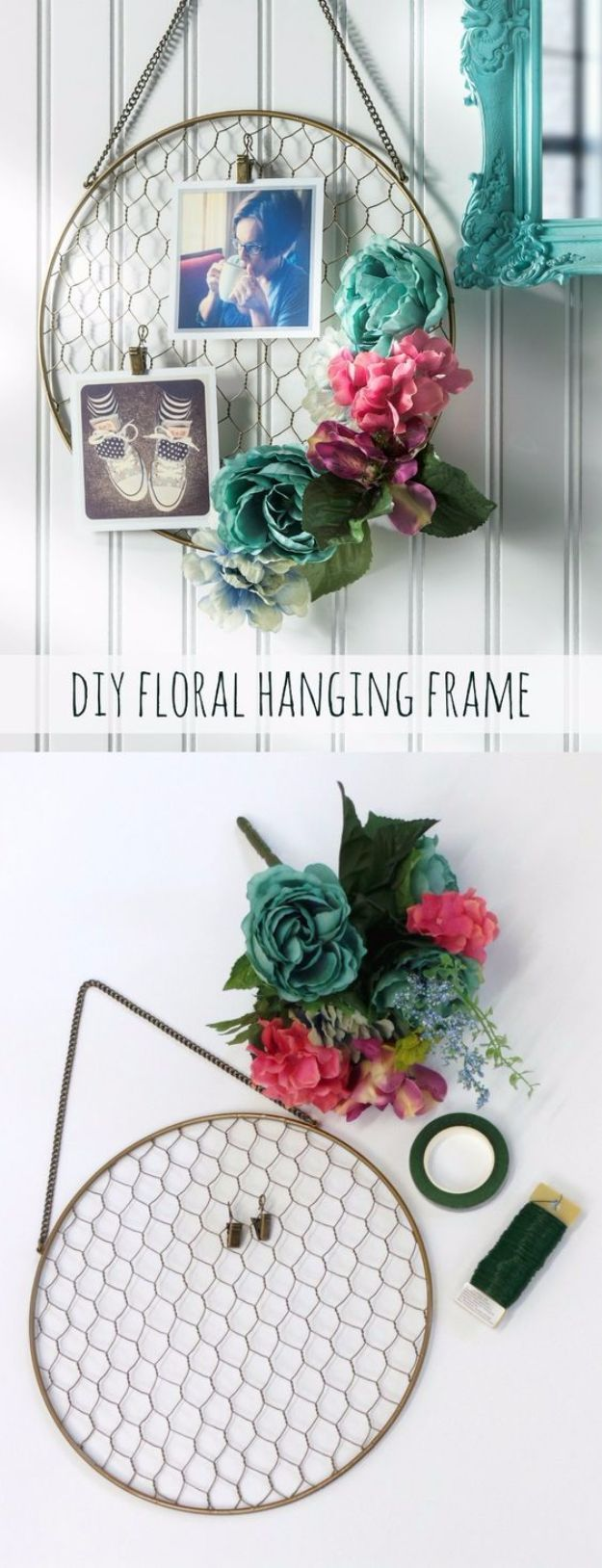 Best DIY Ideas With Chicken Wire - Pretty DIY Floral Hanging Frame - Rustic Farmhouse Decor Tutorials With Chickenwire and Easy Vintage Shabby Chic Home Decor for Kitchen, Living Room and Bathroom - Creative Country Crafts, Furniture, Patio Decor and Rustic Wall Art and Accessories to Make and Sell http://diyjoy.com/diy-projects-chicken-wire