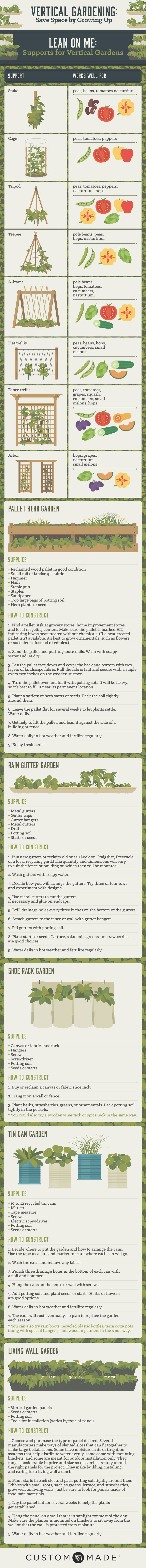 Vertical Gardening: what to plant with best methods of support. Simple diagram format.