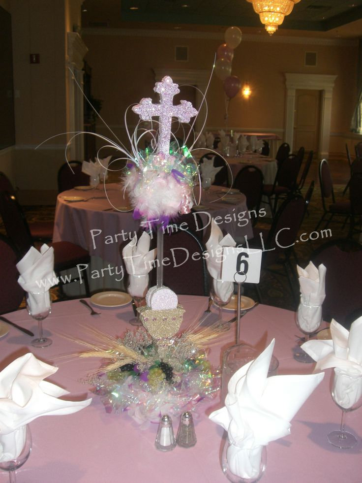 Communion Centerpiece Cross Chalice Wheat And Grapes