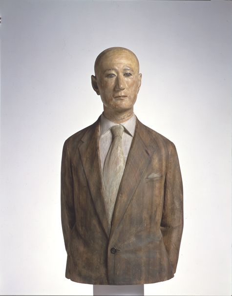 "by Katsura Funakoshi ""Man in a Jacket"" painted camphor wood and marble, Japan"