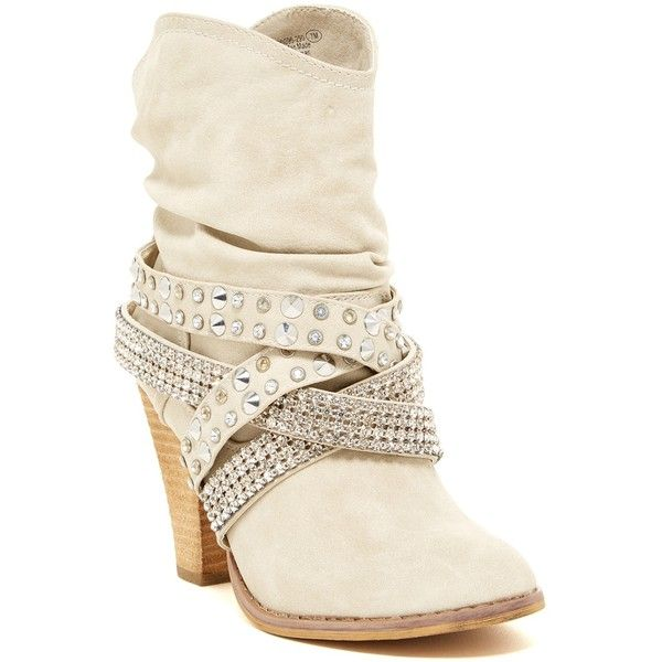 Not Rated Overload Embellished Bootie ($40) ❤ liked on Polyvore featuring shoes, boots, ankle booties, cream, mid-calf boots, high heel booties, high heel bootie, not rated boots and faux-fur boots
