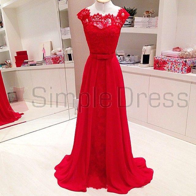 Simple Dress 2015 Long Red Lace Prom Dresses, Wedding Reception Dresses, Elegant Long Chiffon Prom Dresses  CHPD-7122