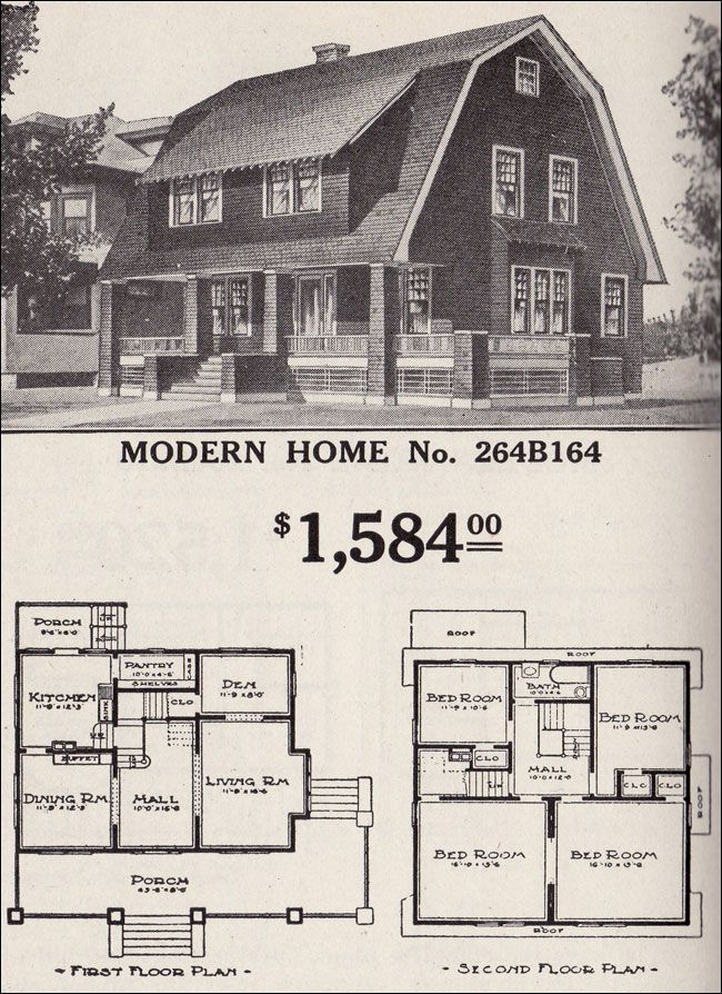 Dutch colonial revival sears modern home no 264b164 for Gambrel roof house plans
