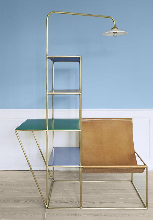 Contemporary, Belgium Installation Small. Tubular brass, polyethylene, opaline glass, leather. H180 x W121 x D80 cm