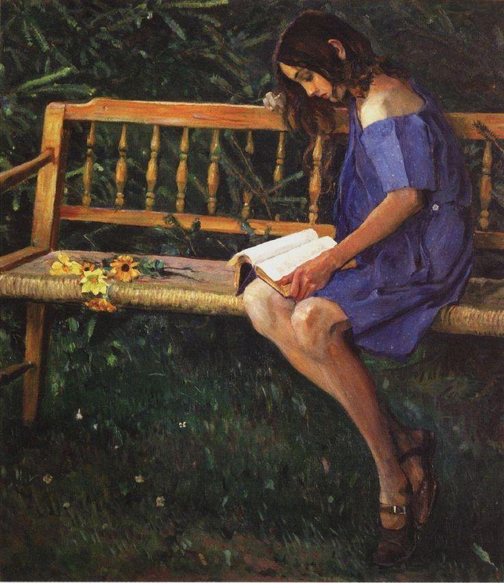 Михаил Васильевич Нестеров » Картины, живопись » Наташа Нестерова на садовой скамейке. 1914