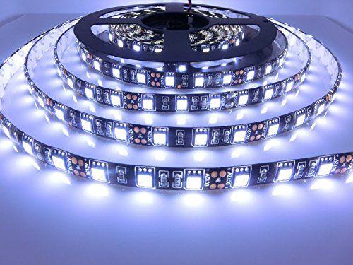 Miyole 16 4ft 300leds led flexible strip light 5050 dc12volt decorative lighting cool white black pcb