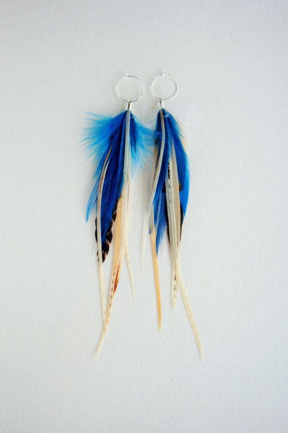 Deep Blue Sea Feather Earrings by MayflyJewelry on Etsy                                                                                                                                                      More