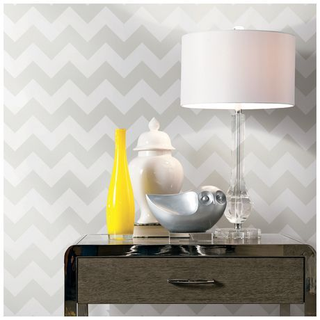 Home Trends Chevron Gray Flat Pack Wallpaper For Sale At
