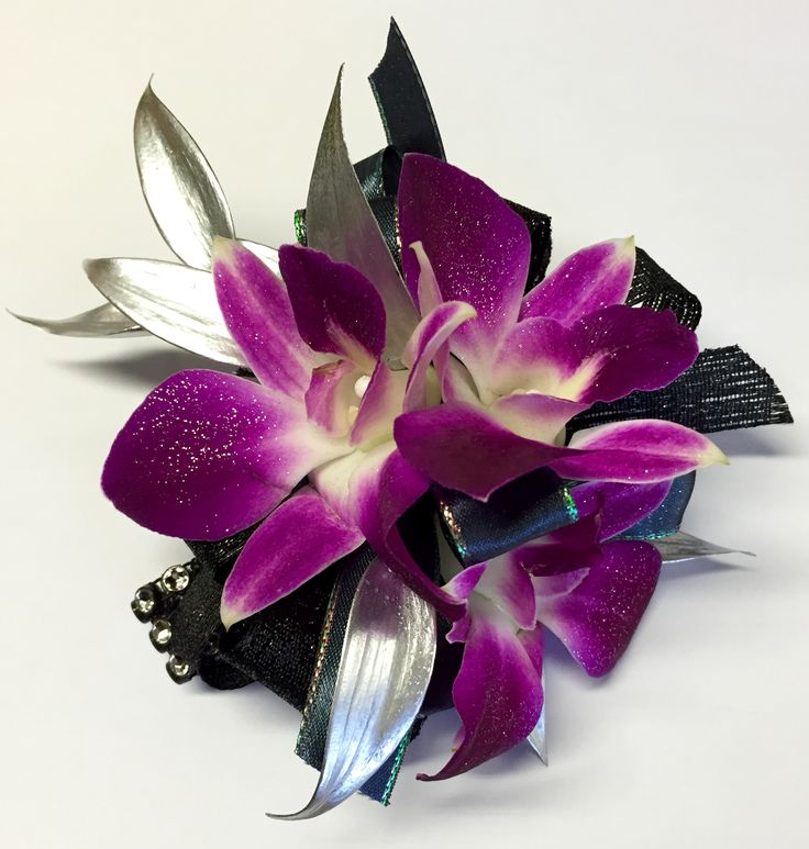 Wedding Flowers Corsage Ideas: Silver Purple And Black Prom Flowers, Prom Corsage, Prom