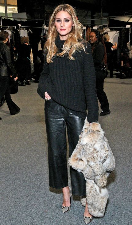 Olivia Palermo in leather culottes...
