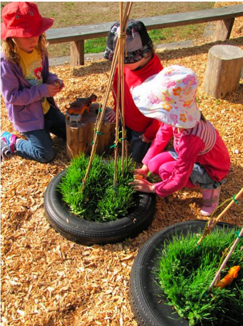 "So simple - small world play in a tyre, from Irresistible Ideas for play based learning ("",)"