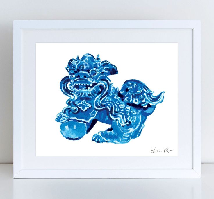 Foo Dog Blue Ceramic China - Giclee Print of Watercolor - 8 x 10, 11 x 14 inches Fine Art Poster Fu Lion Japan Bookends Asian Decor Porcelain Chinoiserie Chinese Antique Ming Vase