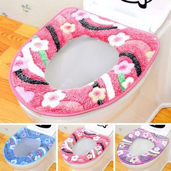 New Toilet Mat Plum Washable Toilet Rings Warm Flannel Closestool Lid Top Cover #Unbranded