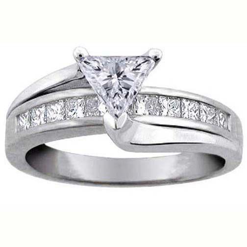 Trillion Diamond Bridge Engagement Ring Setting in 14K White Gold 0.62 tcw.