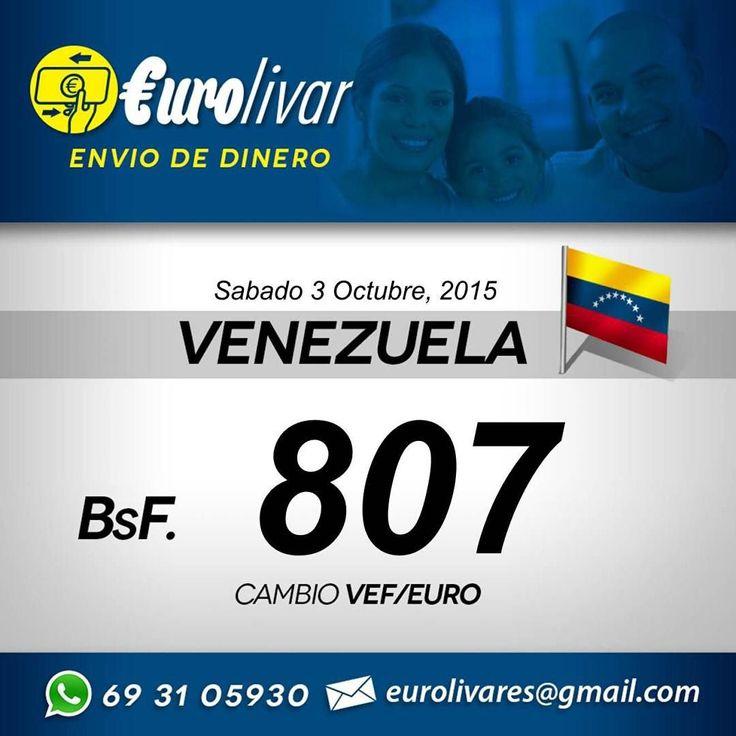 Este es el cambio de envió para Venezuela para hoy Sábado 3 de Octubre 2015. Para enviar tu Dinero a Venezuela a tus Familiares o de Negocios.