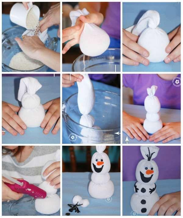 Une chaussette transformée en Olaf