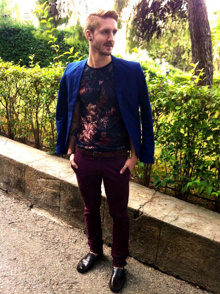 #h&m #blazer #zara #purple #belt #pants #shoes #green #blue #natural #weddingstyle #smile #face