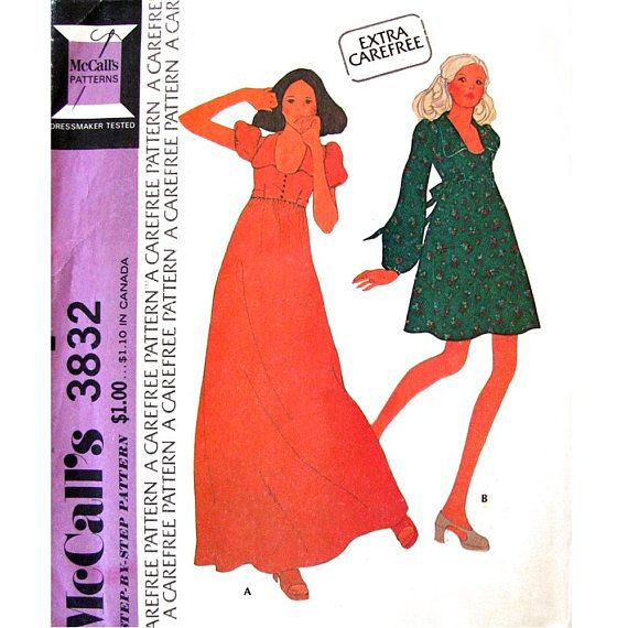 70s Mini or Maxi Dress Pattern McCalls 3832 Short or Long Puff Sleeve Empire Dress Collar Woman Bust 38 Vintage Sewing Pattern