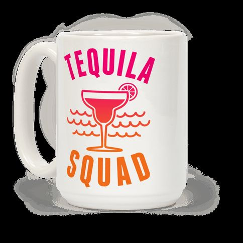 "This funny spring break mug is great for all tequila, margarita, beach and sun lovers who are in the ""Tequila Squad."" This drinking mug is perfect for fans of tequila mugs, spring break jokes, funny drinking, drinking jokes and tequila lovers."