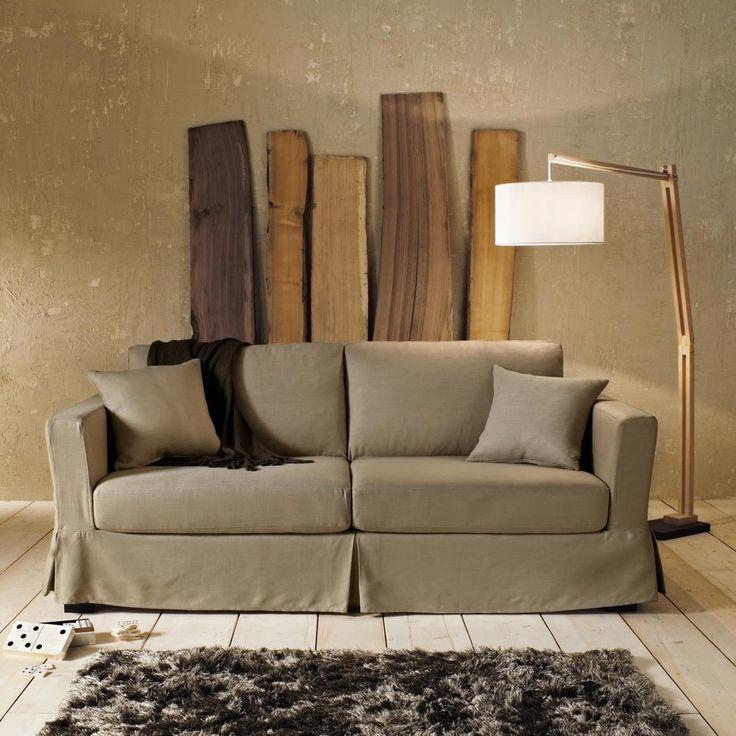 lampadaire en bois et coton h cm taiga maisons du monde. Black Bedroom Furniture Sets. Home Design Ideas