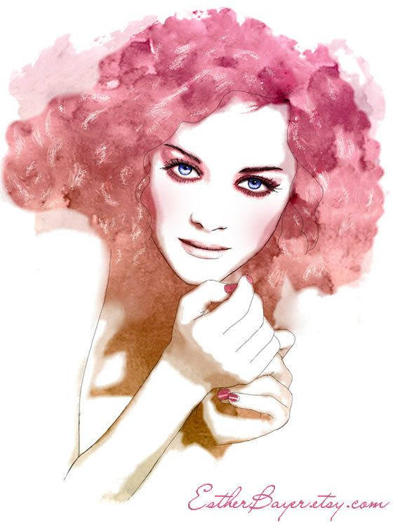 Fashion Illustration by Esther Bayer    Art, drawing, painting, watercolor, pink, mixed media,