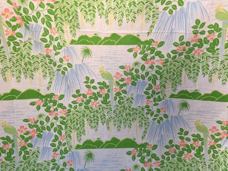 70's Burlington Hawaii Tropical Ocean Parrot Print Flat Sheet by ElkHugsVintage on Etsy