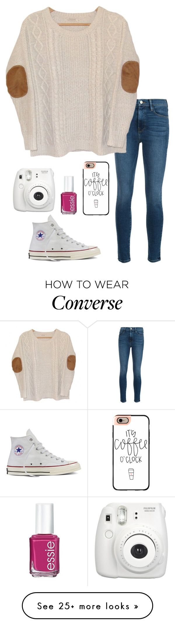 """Fall season has started for me!"" by eadurbala08 on Polyvore featuring Frame Denim, Urban Outfitters, Converse, Casetify, Essie and Fujifilm"