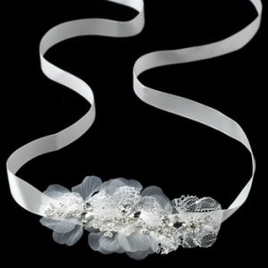 Silver Ivory Lace & Rhinestone Accent Bridal Belt or Headpiece