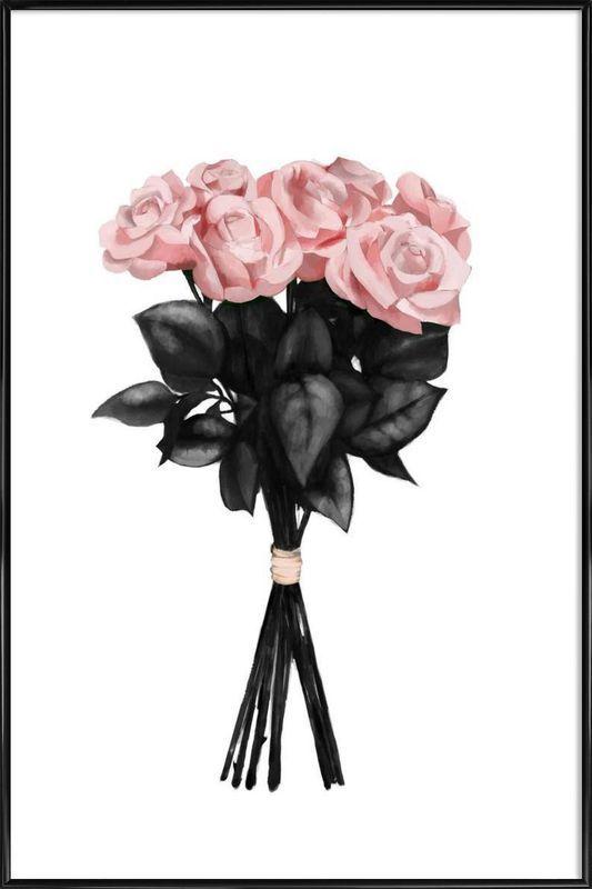 Pink Bouquet als Poster im Kunststoffrahmen von Peytil | JUNIQE