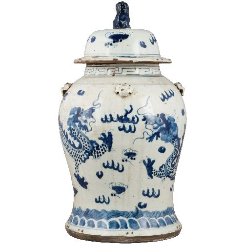 ap 55 faulous chunky antiqued blue and white ginger jar the enchanted home - Ginger Jars
