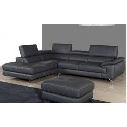 Valerio - A973 Italian Grey Leather Sectional