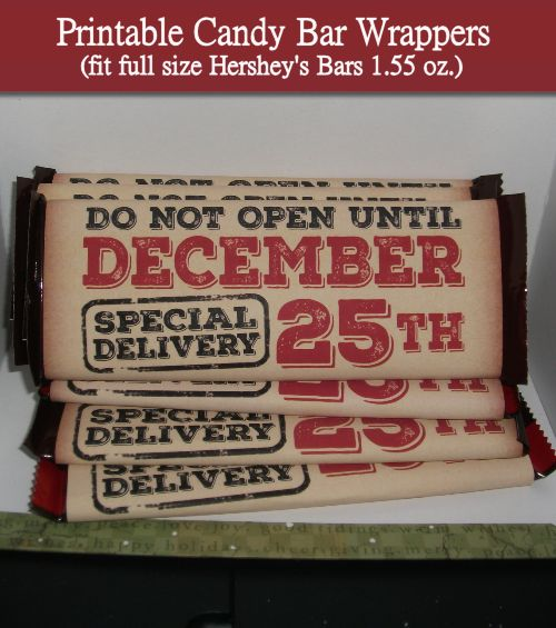 Vintage Christmas candy bar wrappers. These are so easy to make you can stock up…