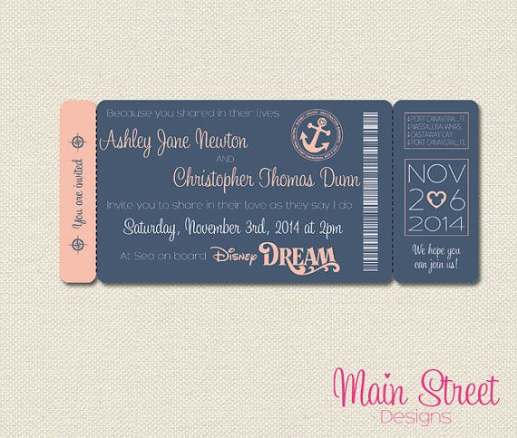 Cruise Boarding Pass Wedding Invite by MainStreetDesigns on Etsy, £10.00