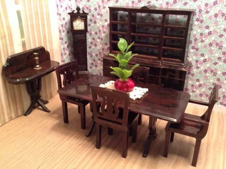 Plasco 9 PIECE DINING ROOM Vintage Dollhouse Furniture Fits Ideal Maarx Renwal