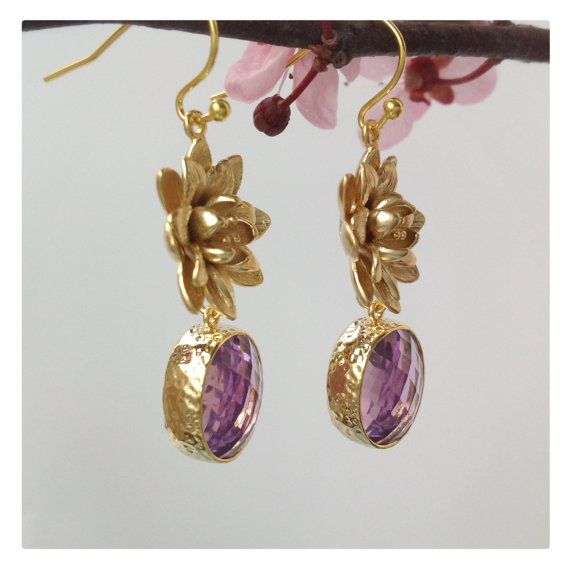 Faceted Amethyst - 22k Vermeil Gold - Amethyst Bezel - February Gemstone - Dangle Earring - Lotus Flower