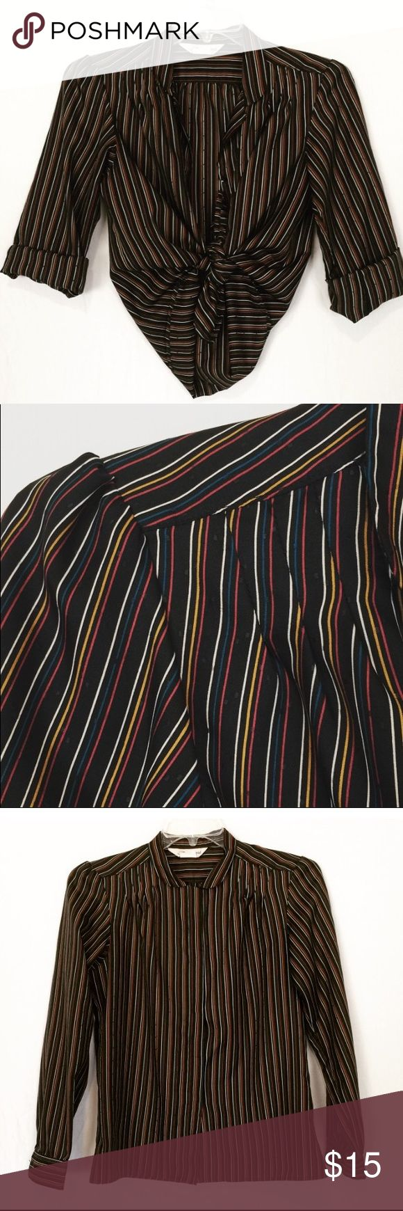 Vintage Blouse stripe long sleeve button down M L Same or next day shipping! Fits Medium & large Bust: 20 in Length: 24 in Tagged: 14 Small snag only visible if you look close ( priced accordingly) otherwise beautiful condition! Silky Polyester long sleeve button down colorful striped Blouse shirt top. Dress up or down. Pair with a pencil skirt for the sexy mad men look or even tie up with high waisted skinnies for casual glam look.  Tags# black rainbow career 12 14 10 size small medium…