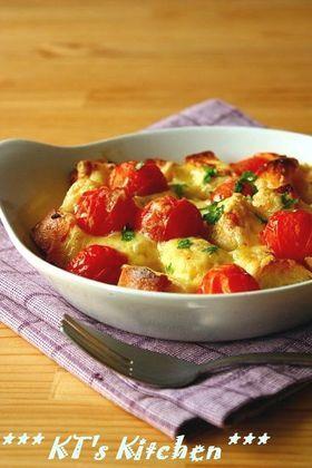 残ったフランスパンで~トマトチーズ焼き 辛口ロゼ