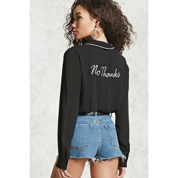 Forever21 No Thanks Pajama Shirt ($20) ❤ liked on Polyvore featuring intimates, sleepwear, pajamas, love 21, button front pajamas, long sleeve sleepwear, long sleeve pyjamas and long sleeve pajamas