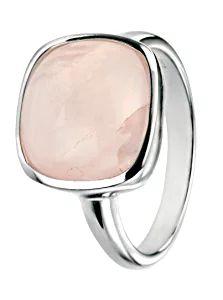Elements Silver - Anello in argento Sterling con quarzo rosa, taglio Cabochon, argento, 56 (17.8), cod. AZ-R3456P 56