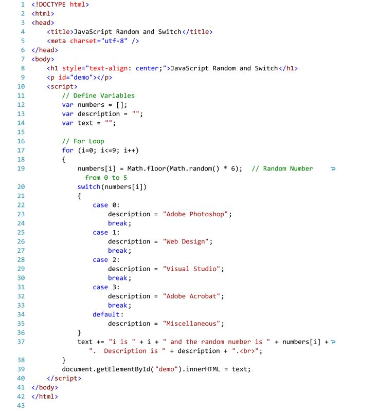 Internal JavaScript Code for Random Numbers and the Switch Statement.  Text Editor - Visual Studio 2015.