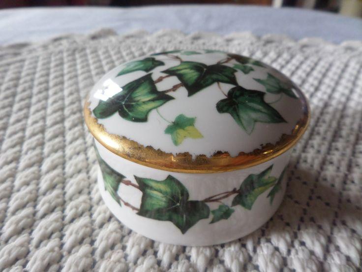 China trinket box, Round trinket box, Ivy leaf design, gilded lid, design inside, Staffordshire china, English bone china, ivy leaves, by MaddisonsRainbow on Etsy