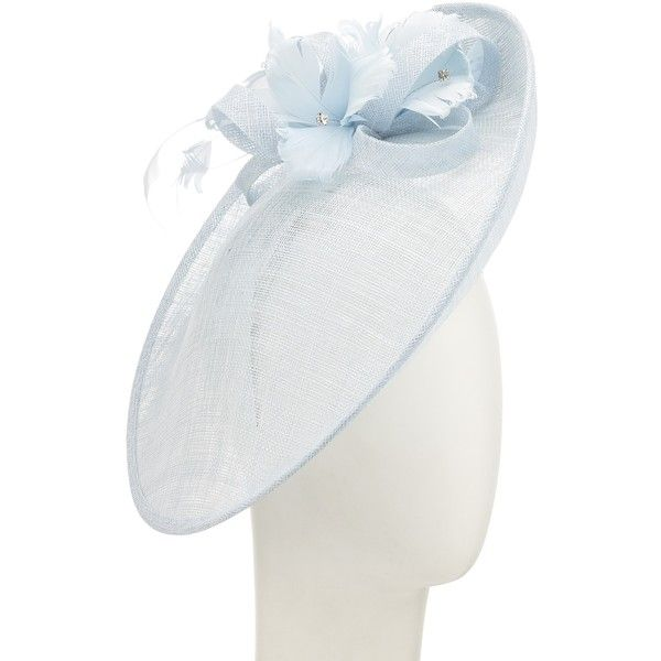 John Lewis Iona Silk Bow Disc Fascinator, Pale Blue (€120) ❤ liked on Polyvore featuring accessories, hair accessories, feather hair accessories, fascinator hats, john lewis, hair bow accessories and feather fascinator