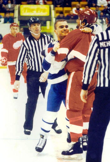 One of Tie's first fights during his rookie season with the Leafs