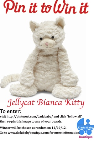 Dada Baby Boutique Pin it to Win it!    Re-pin this image to be entered to win a Jellycat Bianca Kitty!